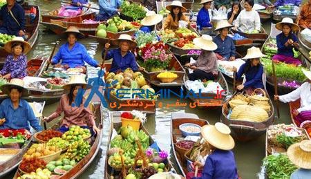 تایلند,جاهای دیدنی تایلند, بازار روی آب تایلند